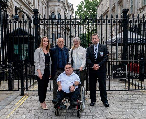 Nuclear test campaigners outside Downing Street, where the Prime Minister refuses to meet them. Left to right, Laura Morris, John Morris, Jacqueline Purse, Alan Owen and Steve Purse