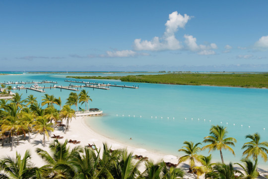 Beach and harbor resort, Providenciales, Turks and Caicos Islands, Caribbean