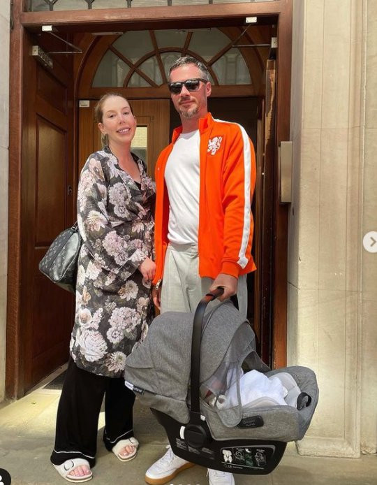 Katherine Ryan, Bobby Kootstra and their baby Fred.