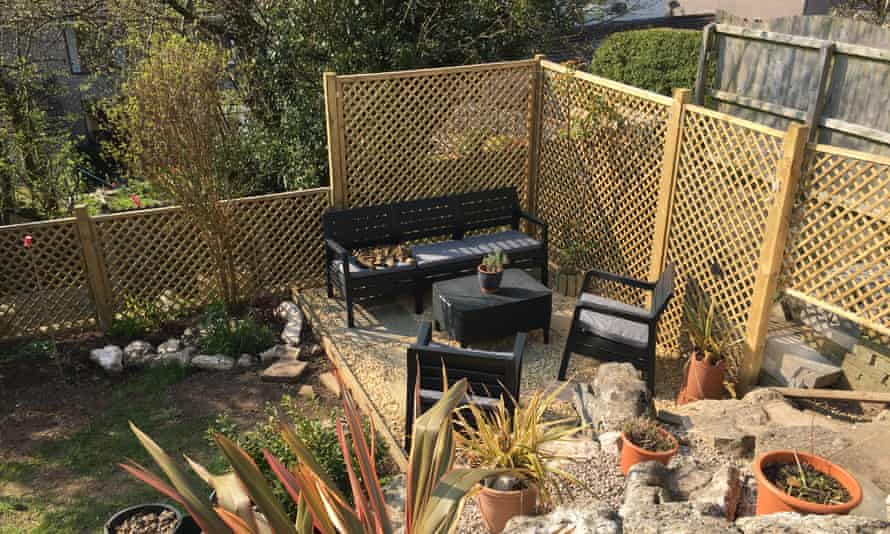 Robin Clague has created a new seating area in his garden in Morecambe.