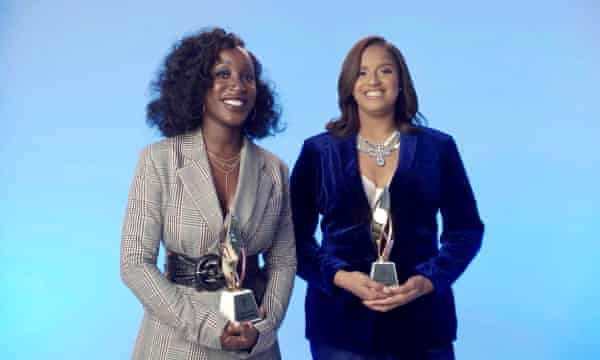 Brianna Agyemang and Jamila Thomas accept the executives of the year award at the Billboard Women In Music 2020 event in December.