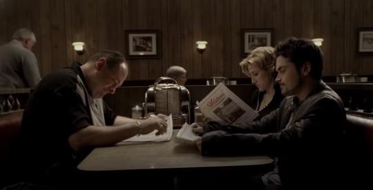 Tony Soprano (James Gandolfini) in the final moments of The Sopranos