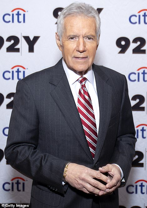 Honored: Alex Trebek and Larry King were posthumously honored with prizes at the Daytime Emmy Awards which were broadcast this Friday evening; Trebek pictured in 2019