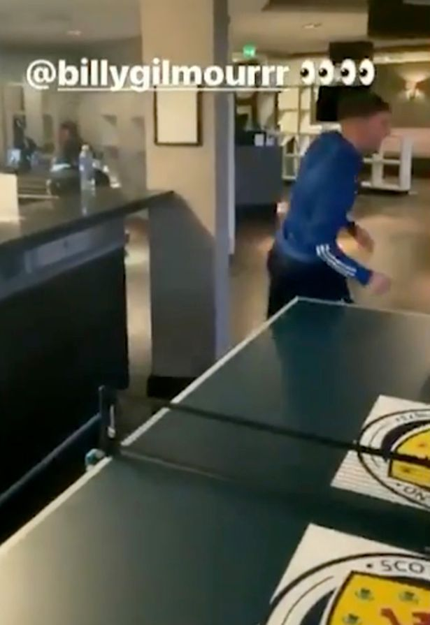 Andy Robertson posted a video of himself playing table tennis with Billy Gilmour