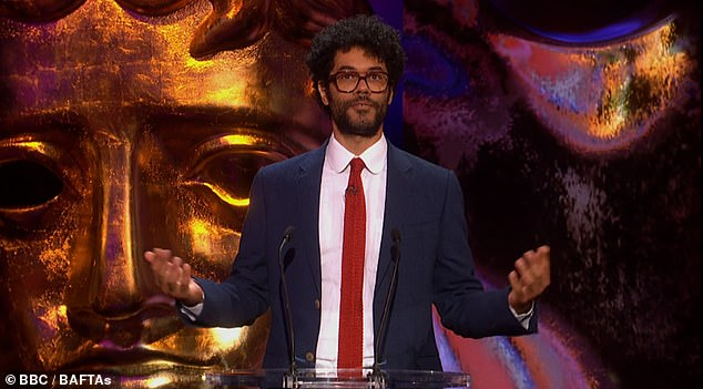 Going for it:Richard Ayoade delighted viewers with his dry one liners and witty sense of humour as he hosted the BAFTA TV Awards 2021 in London on Sunday