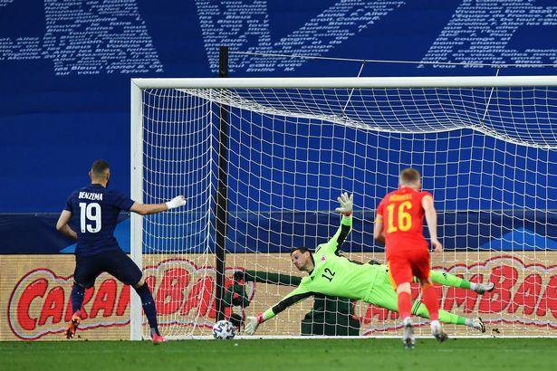Karim Benzema would see his penalty saved by Wales keeper Danny Ward