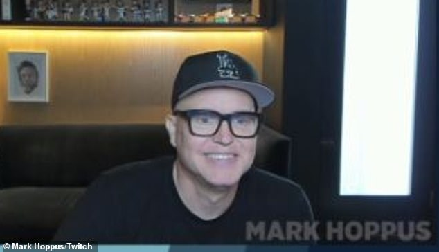 Smiling: Blink-182 singer-bassist Mark Hoppus gave 153 concerned fans an encouraging update on his cancer treatment while on Twitch on Sunday night