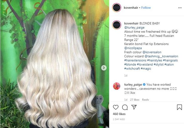 Airdrie salon Koven posted the impressive results of their hair makeover for Love Island winner Paige Turley