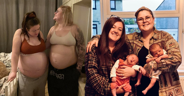 Couple BOTH give birth just 13 days apart after falling pregnant in the same week with a sperm donor they met on Facebook Triangle News