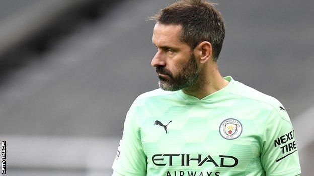 Scott Carson in action for Manchester City