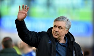 Everton manager Carlo Ancelotti waves to fans during a lap of appreciation after their final home game of the season via Reuters/Peter Powell