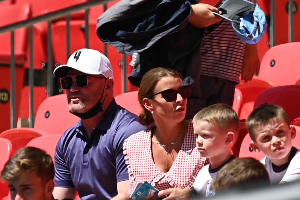 Wayne and Coleen Rooney and sons at England game at Wembley