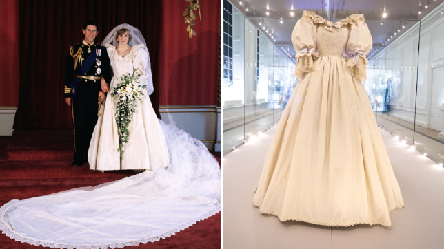 Composite image of Prince Charles with Diana on their wedding day, and her wedding dress in Kensington Palace