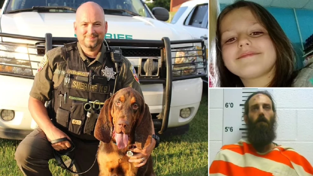 Fred the bloodhound (left) sniffed his way to missing six-year-old Kinzleigh Reeder (top right) and her father Nicholas Reeder (bottom left)