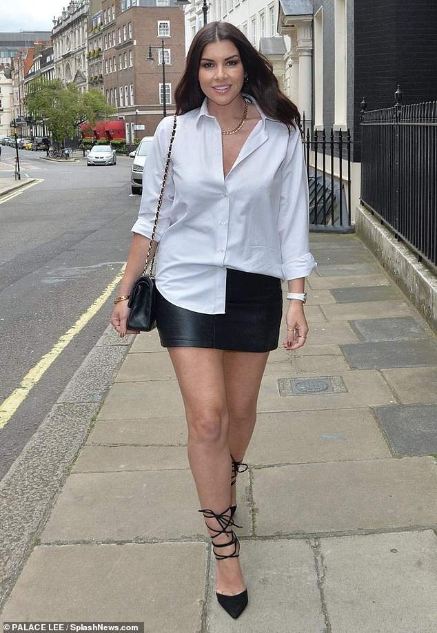Stunning: Imogen Thomas, 38, put on another stylish display while out for lunch with friends at Sexy Fish in Mayfair on Friday