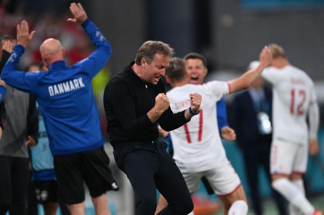 Denmark boss Kasper Hjulmand celebrates after Euro 2020 win over Russia