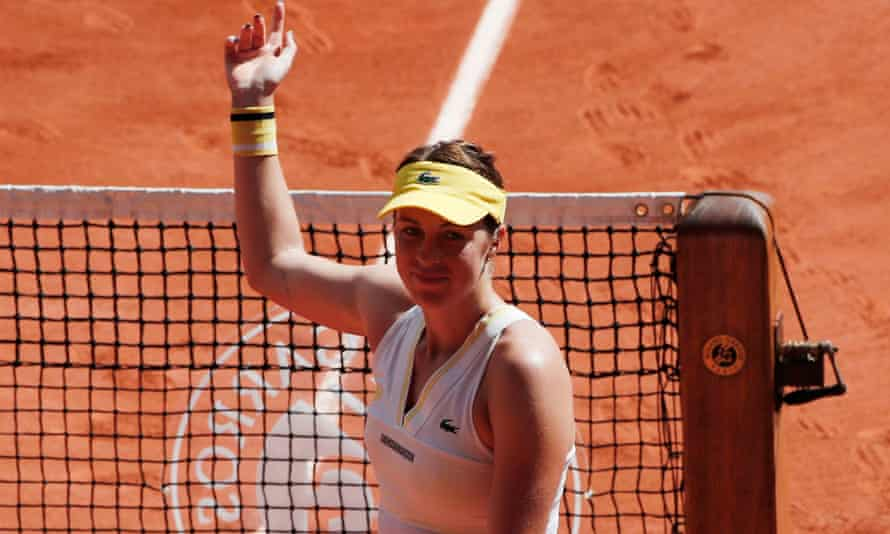 Anastasia Pavlyuchenkova greets the crowd after securing her place in the French Open final