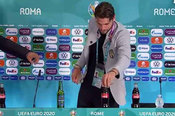 Manuel Locatelli was quick to move both bottles following Italy's 3-0 win over Switzerland