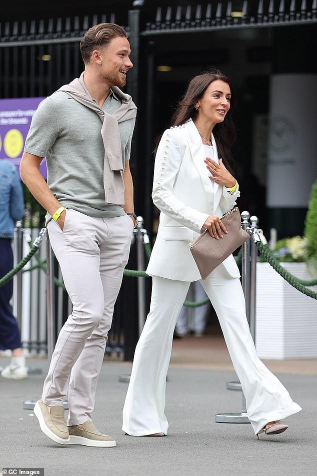 (Centre) courting?Love Island star Kady McDermott has sparked romance rumours with Aston Villa footballer Matty Cash as they were seen enjoying a date on day three of Wimbledon
