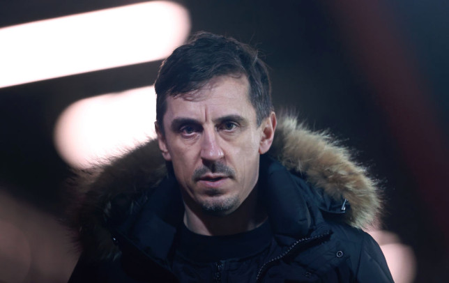 Gary Neville the co-owner of Salford City looks on after the Sky Bet League Two match between Salford City and Colchester United at Moor Lane on March 16, 2021 in Salford, England. Sporting stadiums around the UK remain under strict restrictions due to the Coronavirus Pandemic as Government social distancing laws prohibit fans inside venues resulting in games being played behind closed doors.