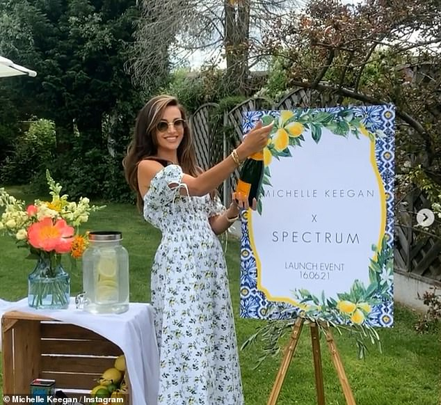 Occasion:Michelle Keegan popped a bottle of champagne and shared a rare Instagram photo with her mother Jacqueline on Wednesday as she celebrated her beauty collaboration launch