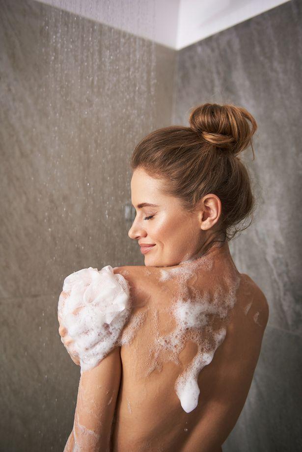 Woman having a shower