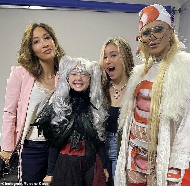 Loving it: Myleene Klass was joined by her daughters, with Hero, 10, dressing up as her drag queen alter-ego in honour of RuPaul's Drag Race UK star Bimini Bon Boulash