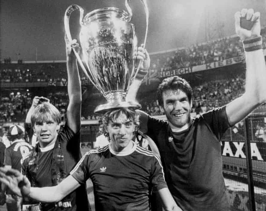 Gary Shaw, Tony Morley and Peter Withe show off the European Cup in 1982.