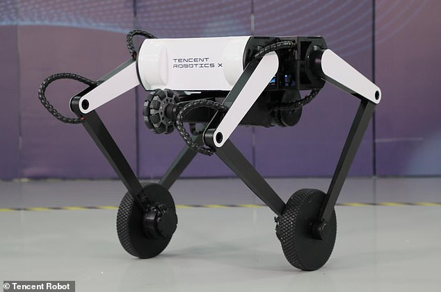 Tencent, which refers to Ollie as a 'novel wheel-legged robot,' says it can hop up 16-inch steps and has a maximum vertical jump of 24 inches
