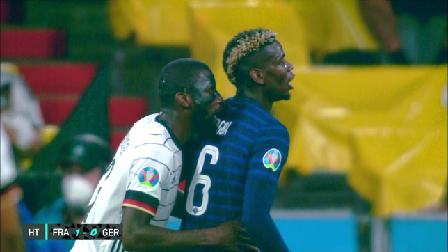 Antonio Rudiger bit Paul Pogba during France's win over Germany at Euro 2020