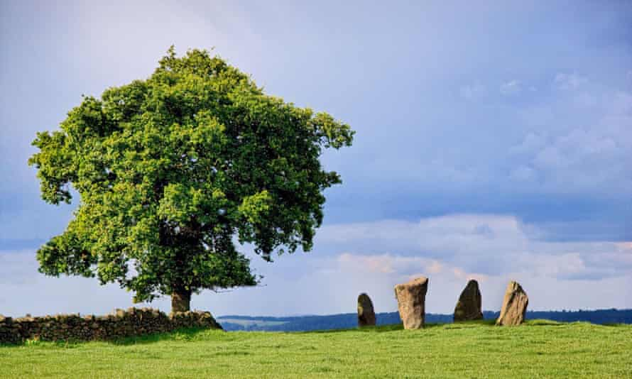 Standing stones on Harthill Moor near Birchover in the Derbyshire Peak District, UK.