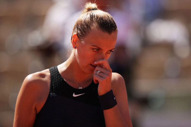 Petra Kvitova of The Czech Republic reacts in her First Round match against Greet Minnen of Belgium during Day One of the 2021 French Open at Roland Garros on May 30, 2021 in Paris, France.