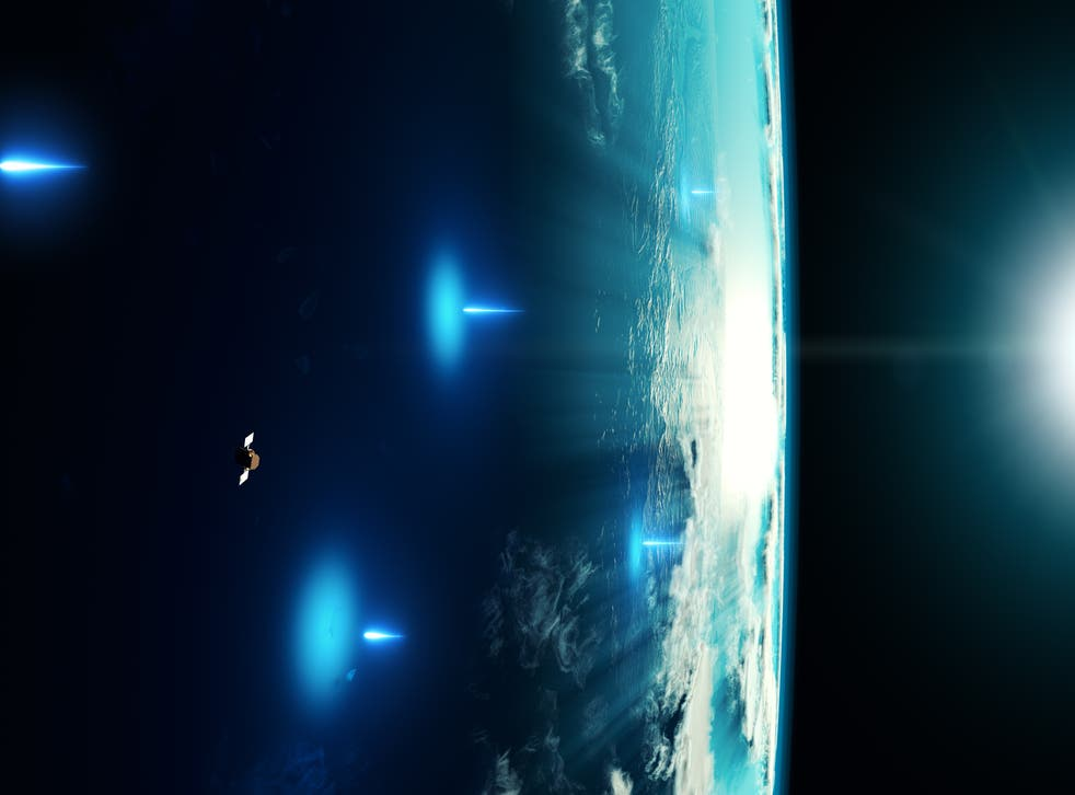 <p>X-rays from the GRB were detected by NASA's Swift satellite in Earth's orbit. Very-high-energy gamma rays entered the atmosphere and initiated air showers that were detected by H.E.S.S. from the ground (artist's impression)</p>