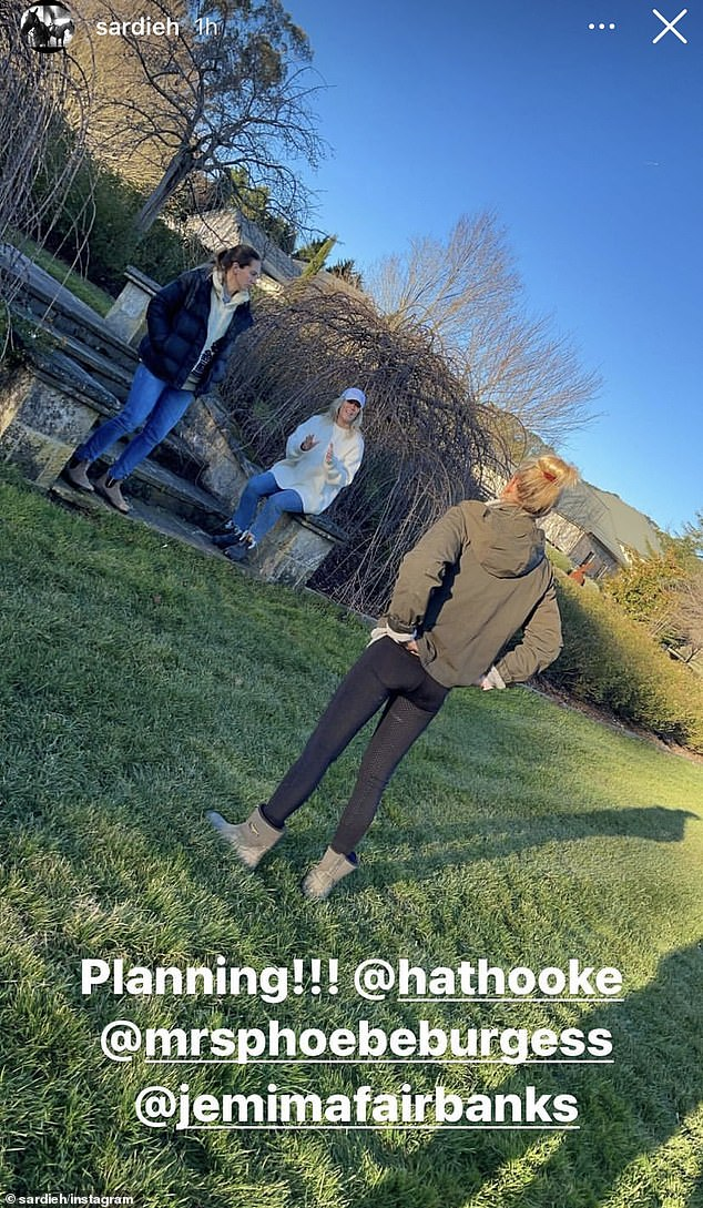 Catch up: On Sunday, the 32-year-old, who appears to be bunkered down at her parents' estate, had a visit from her sisters, Harriet and Jemima.In a photo shared to Instagram by Phoebe's mother, Sarah Hooke, the siblings sat outside for their socially distanced meet-up