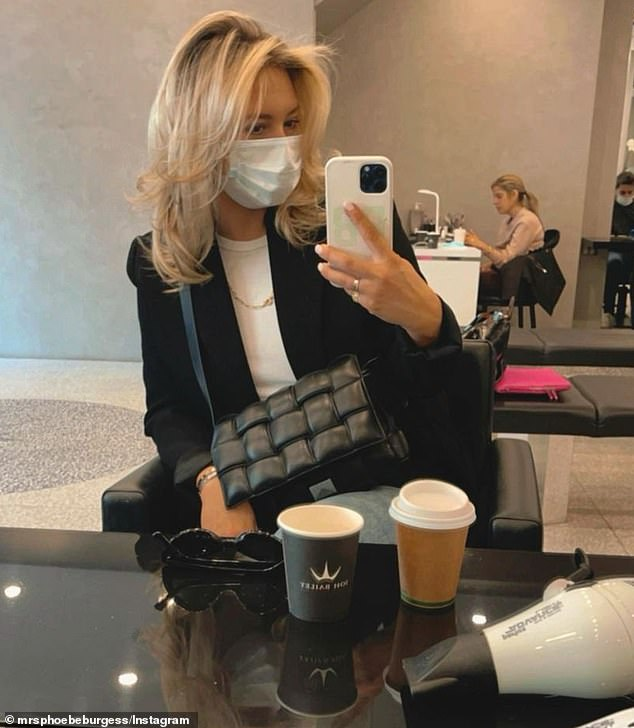 Cautious: Former footy WAG Phoebe Burgess, 33, is currently in isolation after she was tested for coronavirus after visiting Joh Bailey hair salon in Double Bay