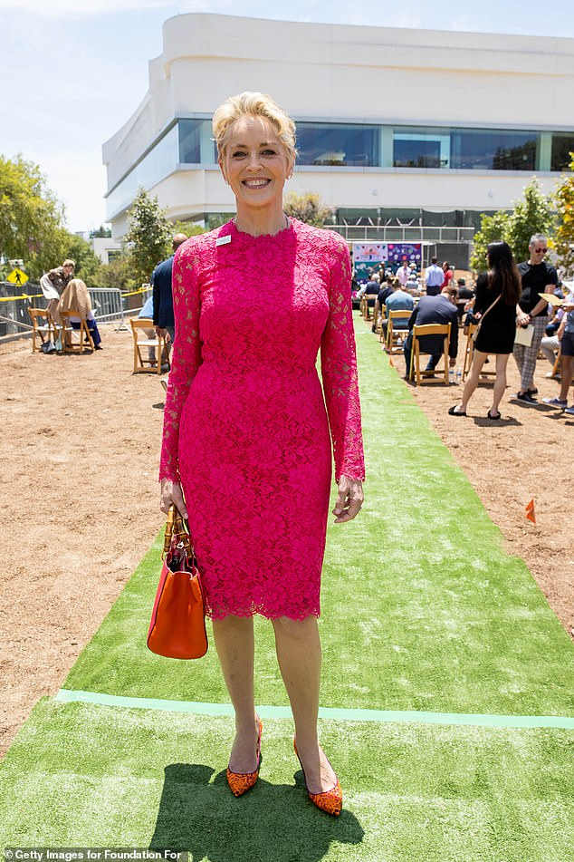 A dedicated advocate:Sharon Stone became emotional while speaking at the AIDS Monument Groundbreaking in West Hollywood