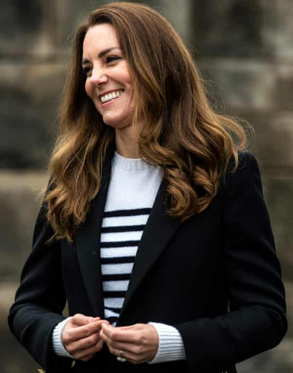 The Duchess Of Cambridge rocks the Breton look during a visit to St Andrews University