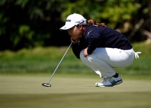 Nasa Hataoka lines up a putt on the final day.