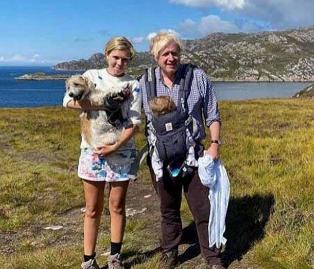 Boris Johnson, Carrie, baby Wilfred and dog Dilyn in Scotland last year