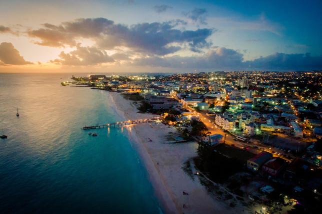 Sunset in Carlisle Bay, Barbados looking to Bridgetown