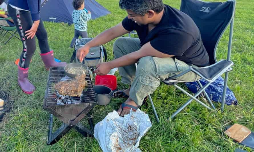 Adam Shabbir and his pre-spiced barbecue.