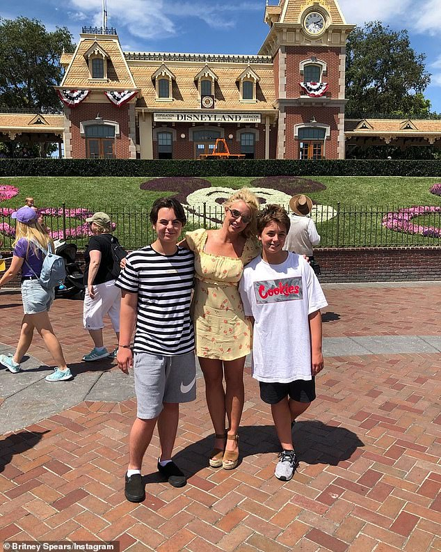'My boys!' Years later, Spears regained 50/50 custody of Sean Preston, 15; and Jayden James, 14; but that ended after her 30-day stint at an 'all-encompassing wellness facility' in 2019 (pictured in 2019)