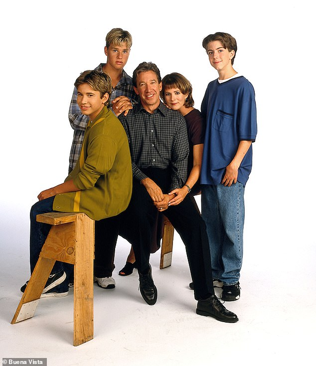 Family first: Jonathan, Zachery, Tim, Patricia Richardson (who played mom Jill), and Taran are seen left to right in June 1995