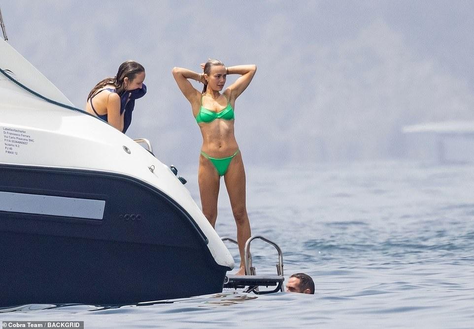Flawless: Rebecca was sure to turn heads as she displayed her figure in her swimwear