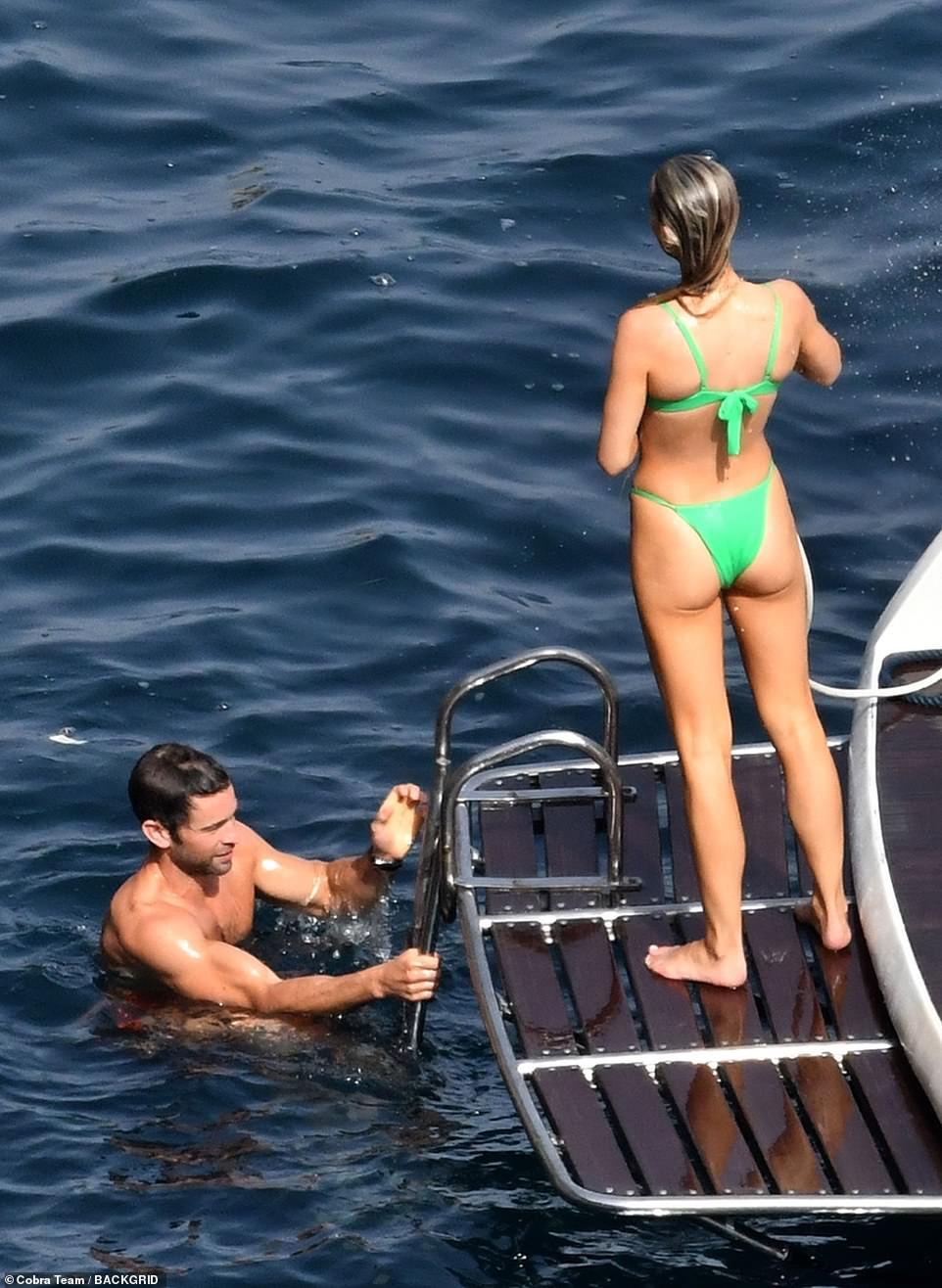 All at sea: The pair were thoroughly enjoying their outing amid their trip to Capri