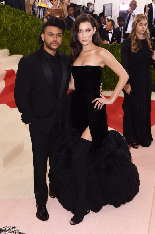 Mandatory Credit: Photo by David Fisher/REX/Shutterstock (5669034hi) The Weeknd and Bella Hadid The Metropolitan Museum of Art's COSTUME INSTITUTE Benefit Celebrating the Opening of Manus x Machina: Fashion in an Age of Technology, Arrivals, The Metropolitan Museum of Art, NYC, New York, America - 02 May 2016