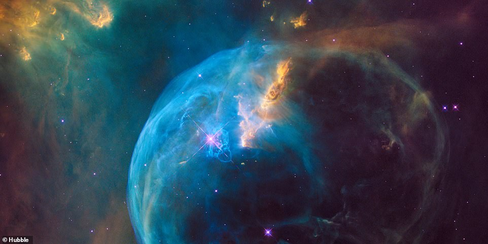 For the 26th birthday of NASA's Hubble Space Telescope, astronomers are highlighting a Hubble image of an enormous bubble being blown into space by a super-hot, massive star