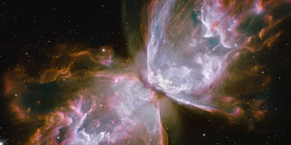 This is a dying star at the centre of the dainty 'butterfly wings', made from roiling cauldrons of gas heated to 36,000 degrees Fahrenheit