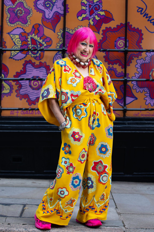 EDITORIAL USE ONLY Dame Zandra Rhodes unveils custom street art designs in Seven Dials, London. PA Photo. Picture date: Saturday August 29, 2020. The vibrant installations are to celebrate the community and safe return of visitors to the area as COVID-19 lockdown lifts, encouraging shoppers and restaurant-goers to revisit the area, under new social-distancing measures. Photo credit should read: David Parry/PA Wire