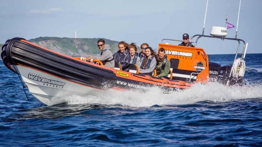 Power boating off the Cornish coast